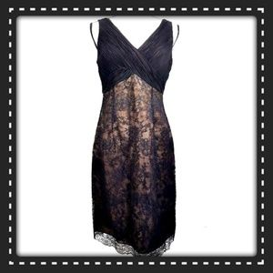 Jones Wear Dresses - Jones Wear Dress Size 8 Black / Nude Lace Overlay
